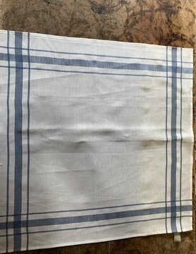 Torchon Libeco blanc contour bleu