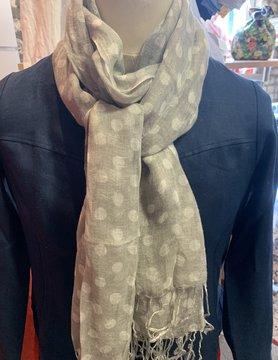 Grijze sjaal met witte stippen