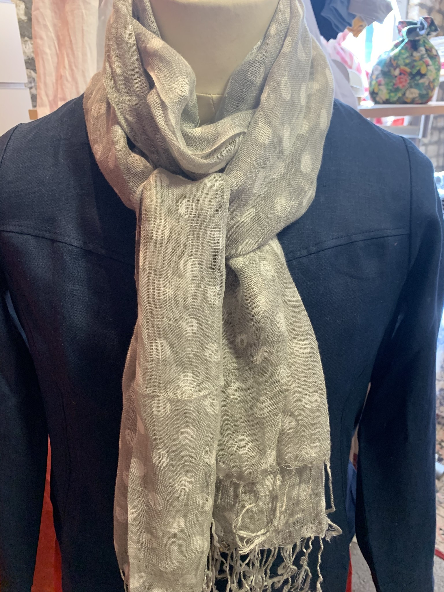 Grey scarf with white polka dots