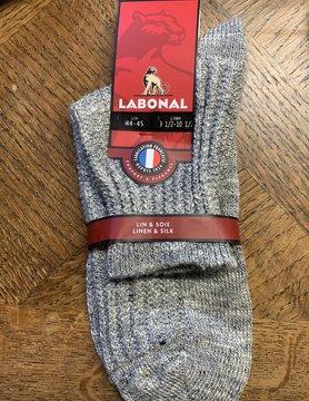 Labonal Herensok in grijs linnen en zijde