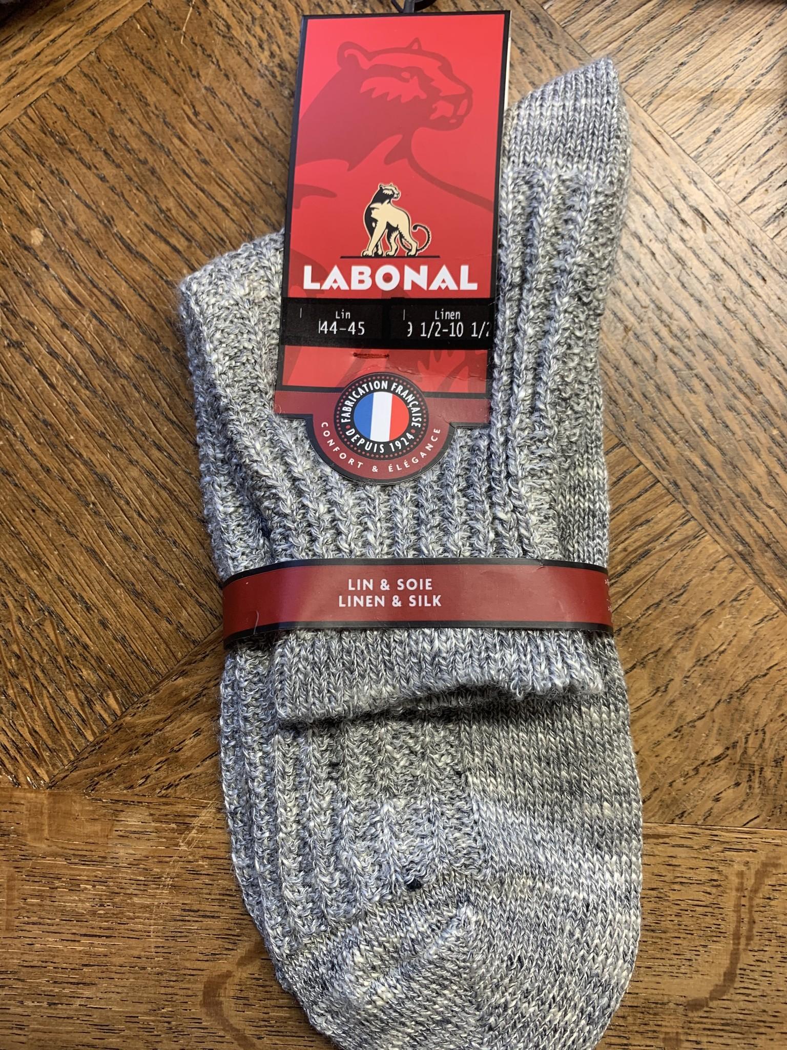 Labonal Men's sock in grey linen and silk