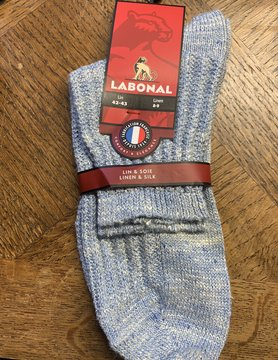 Labonal Men's sock in linen and blue silk