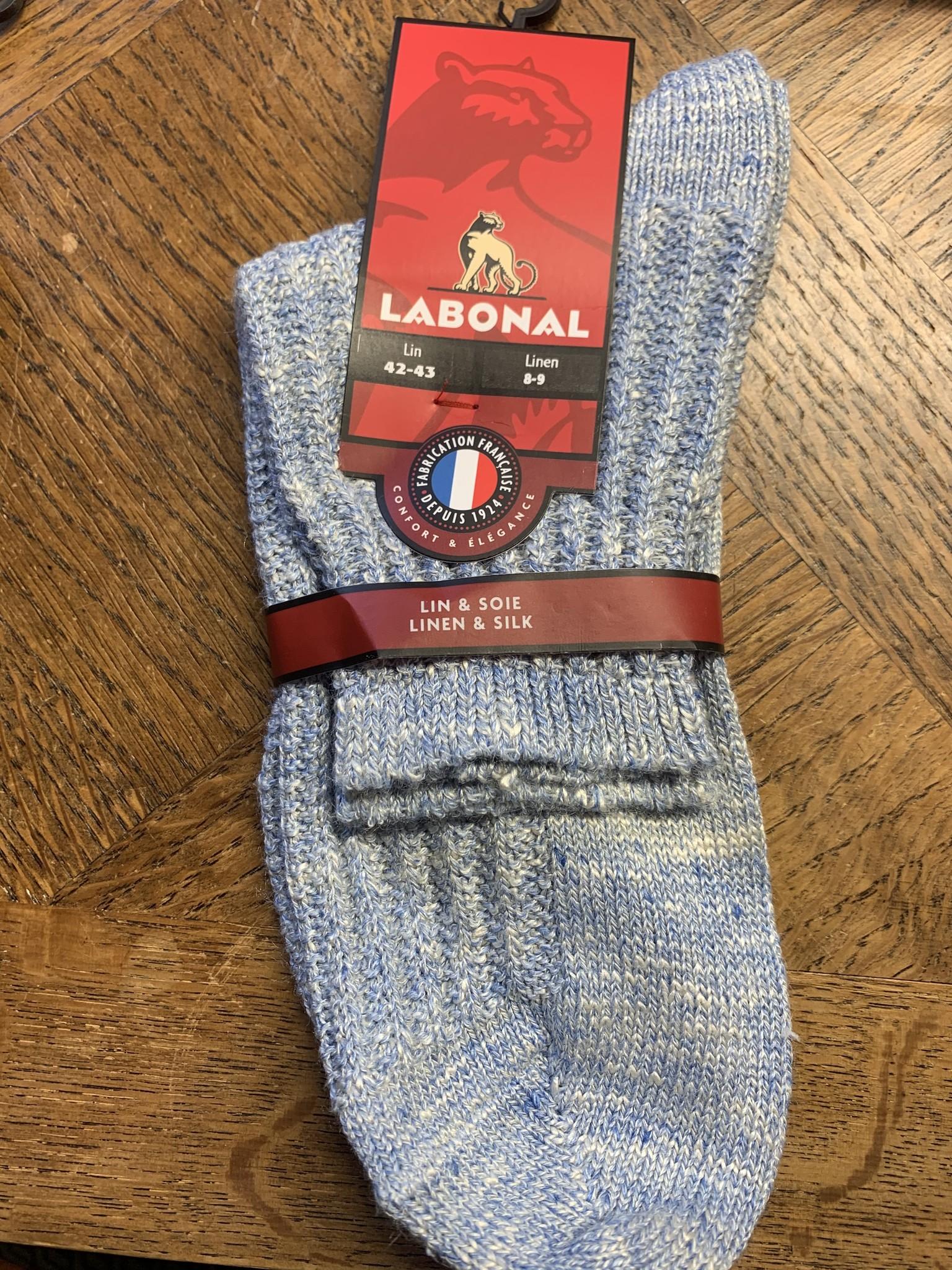Labonal Chaussette homme lin et soie bleu