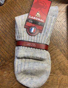 Labonal Beige linen and silk sock for men
