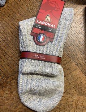 Labonal Beige linnen en zijden sok voor mannen