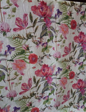 "Purple floral"" fabric"