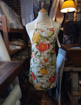"Le grenier du lin Linen apron with ""fruit"" coating"