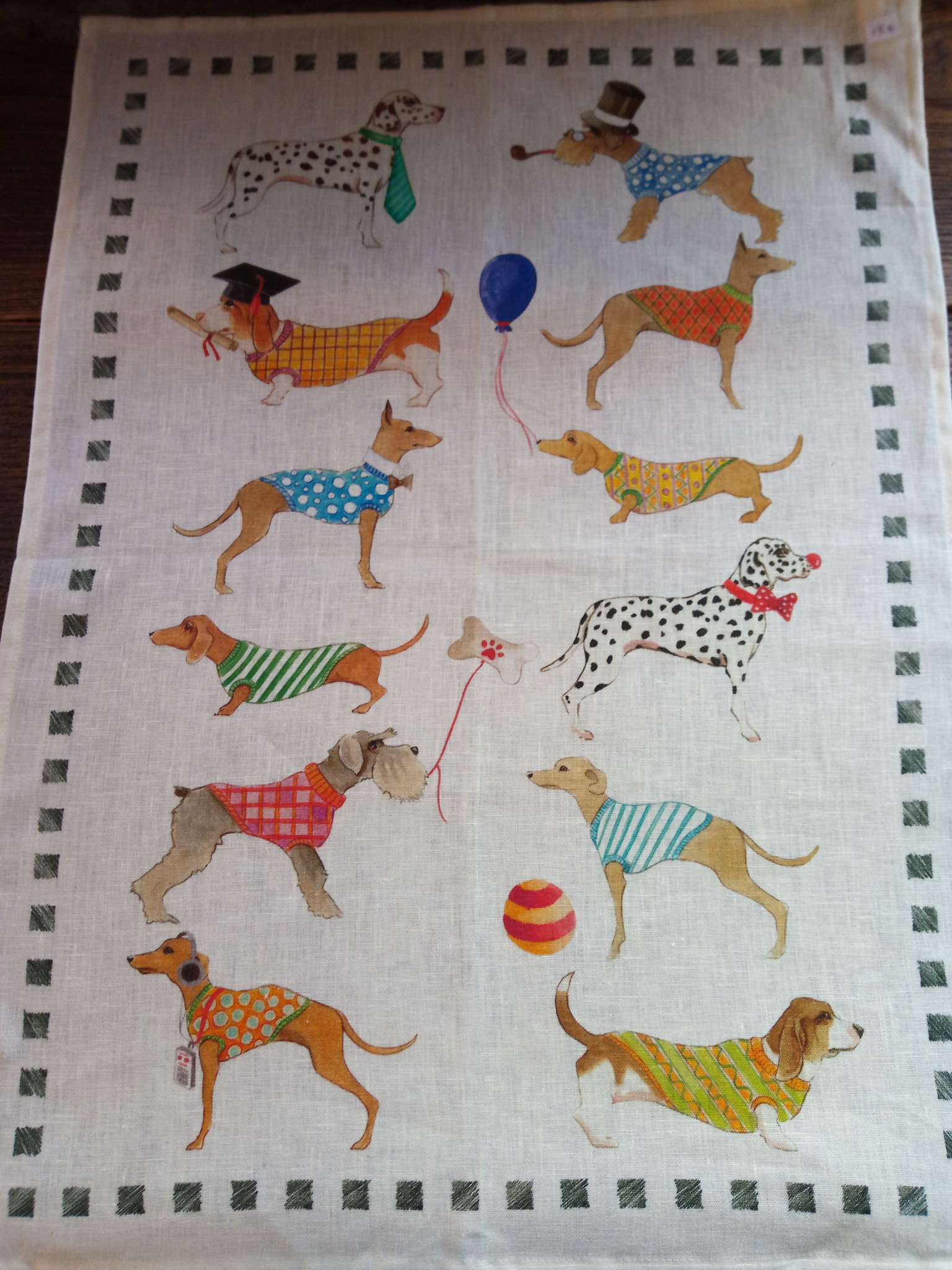 """Dogs"" tea towel"