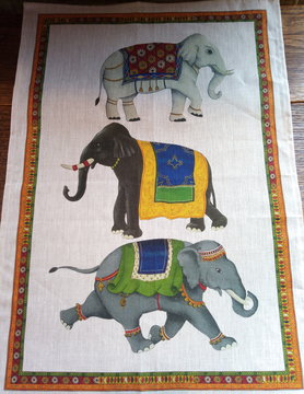 """Elephant"" tea towel"