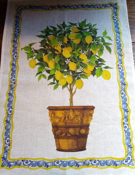 "Lemon tree"" tea towel"