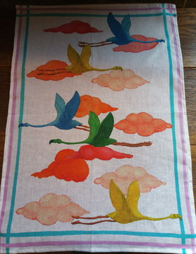 "Flamingo"" tea towel"