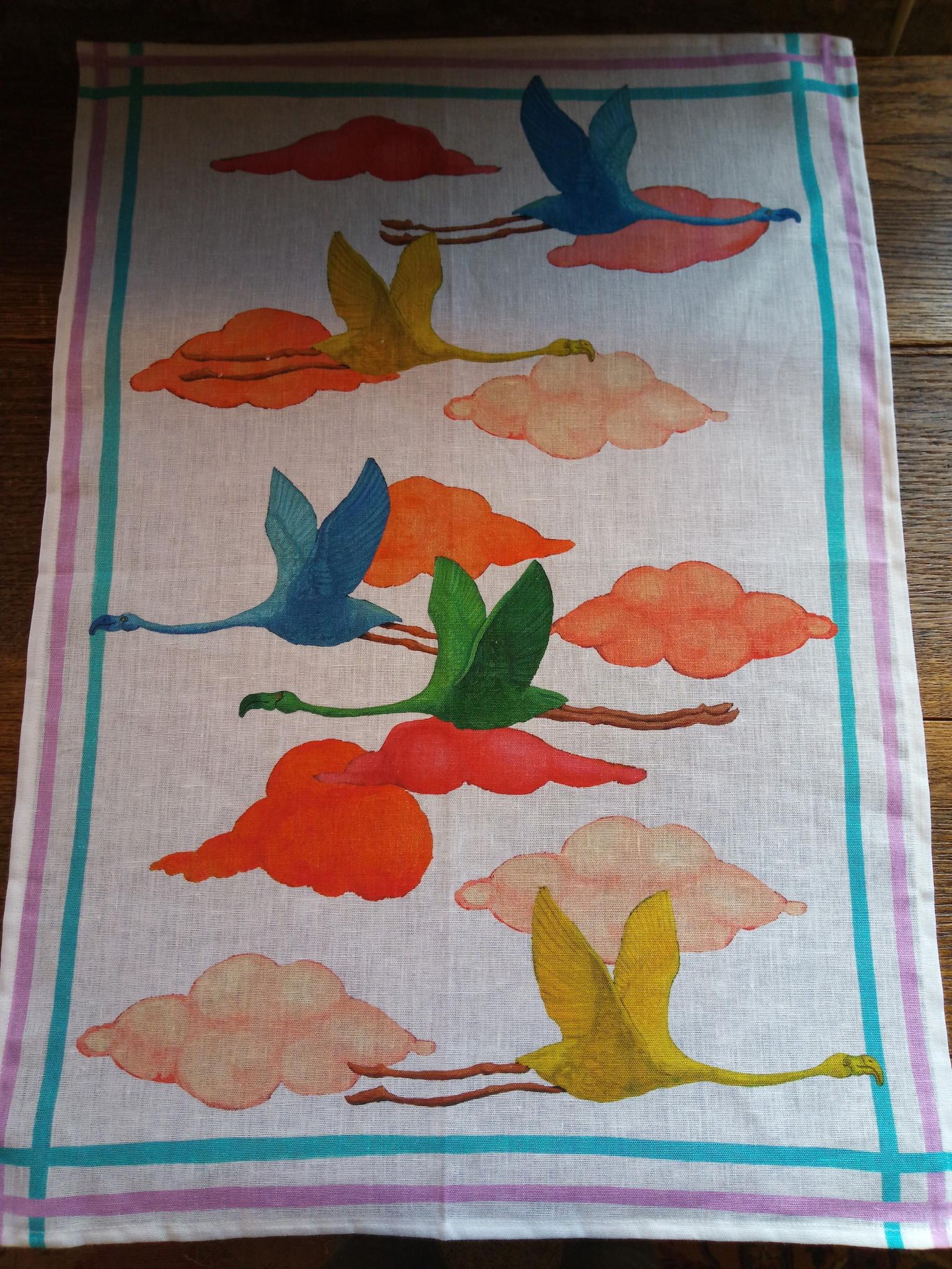 "Flamingo"" tea towel"