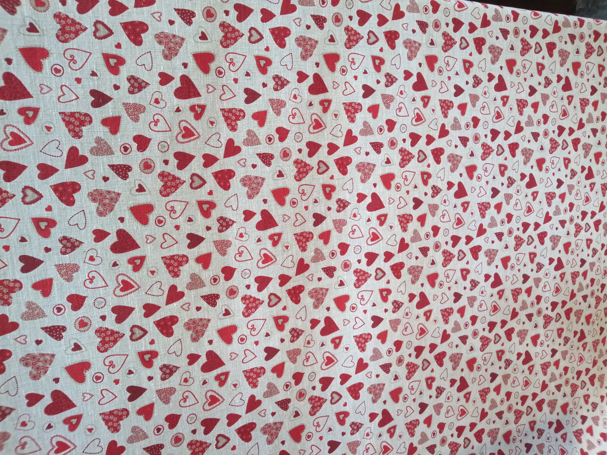 fabric little red hearts