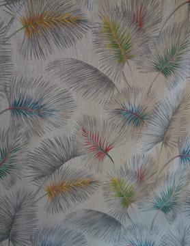 """Tissus """" palmier coloré"""