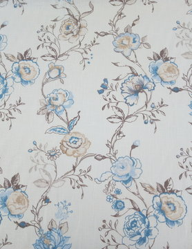 "Floral blue on white background"" fabric"