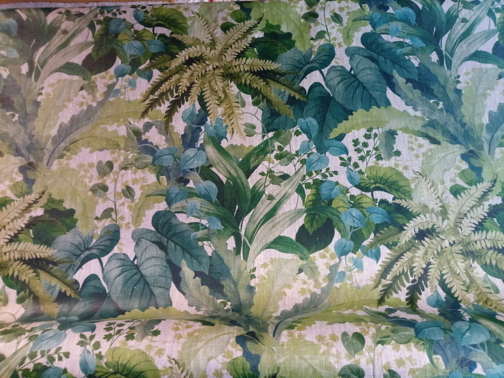 "coated linen printed "" foliage ""."