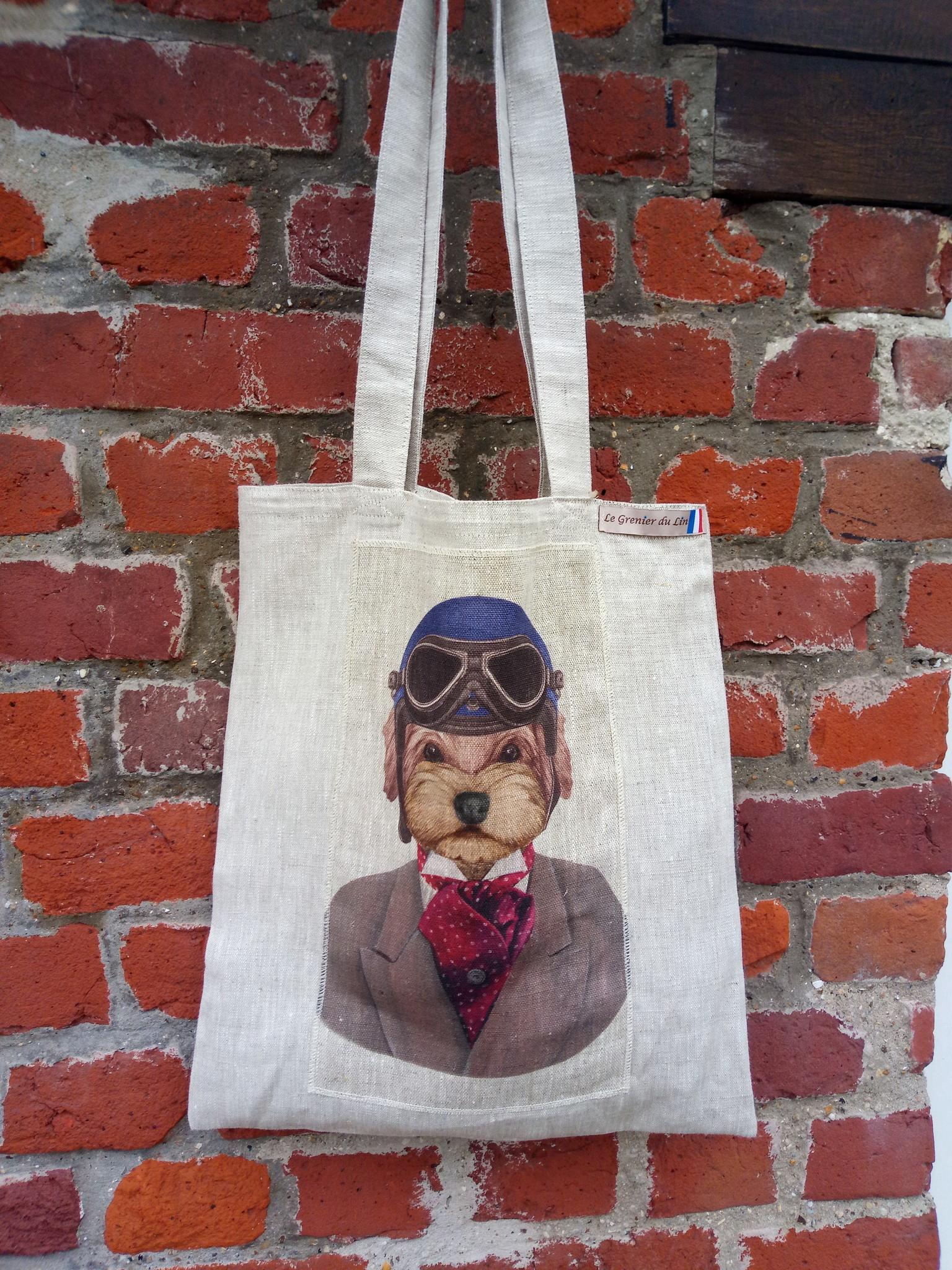 """Le grenier du lin sac """" chien casque de motard """""""