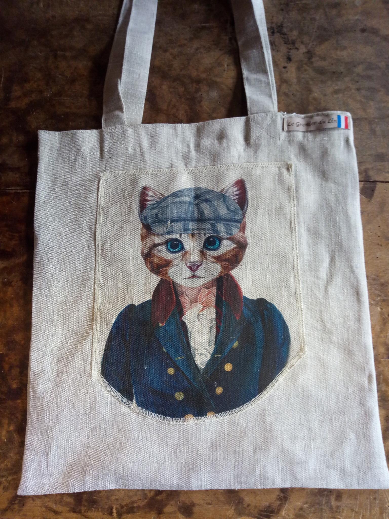 "Le grenier du lin tote bag ""cat with cap"""