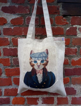 "Le grenier du lin tote bag ""cat with cap"""