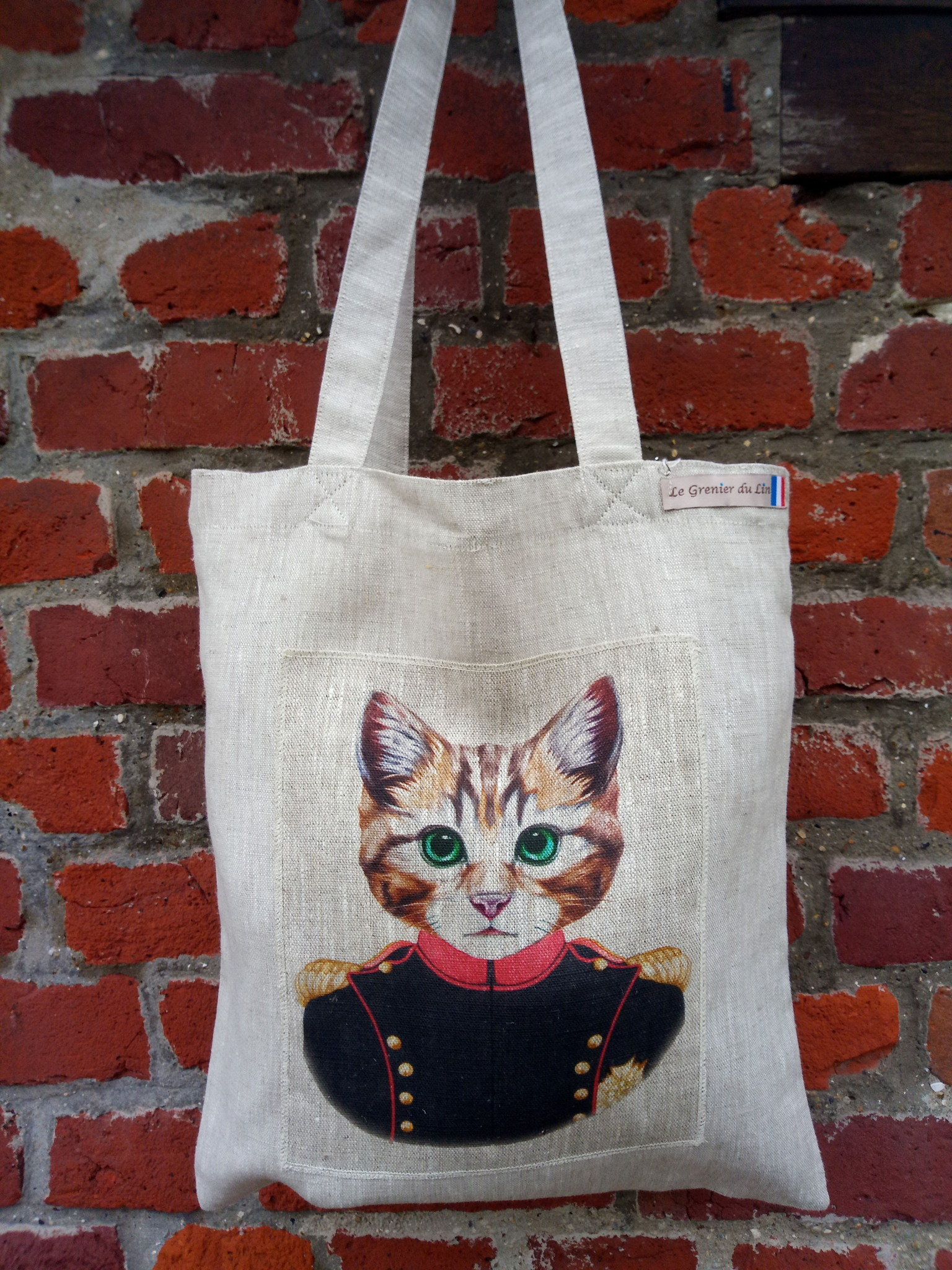 "Le grenier du lin tote bag "" chat de cirque """