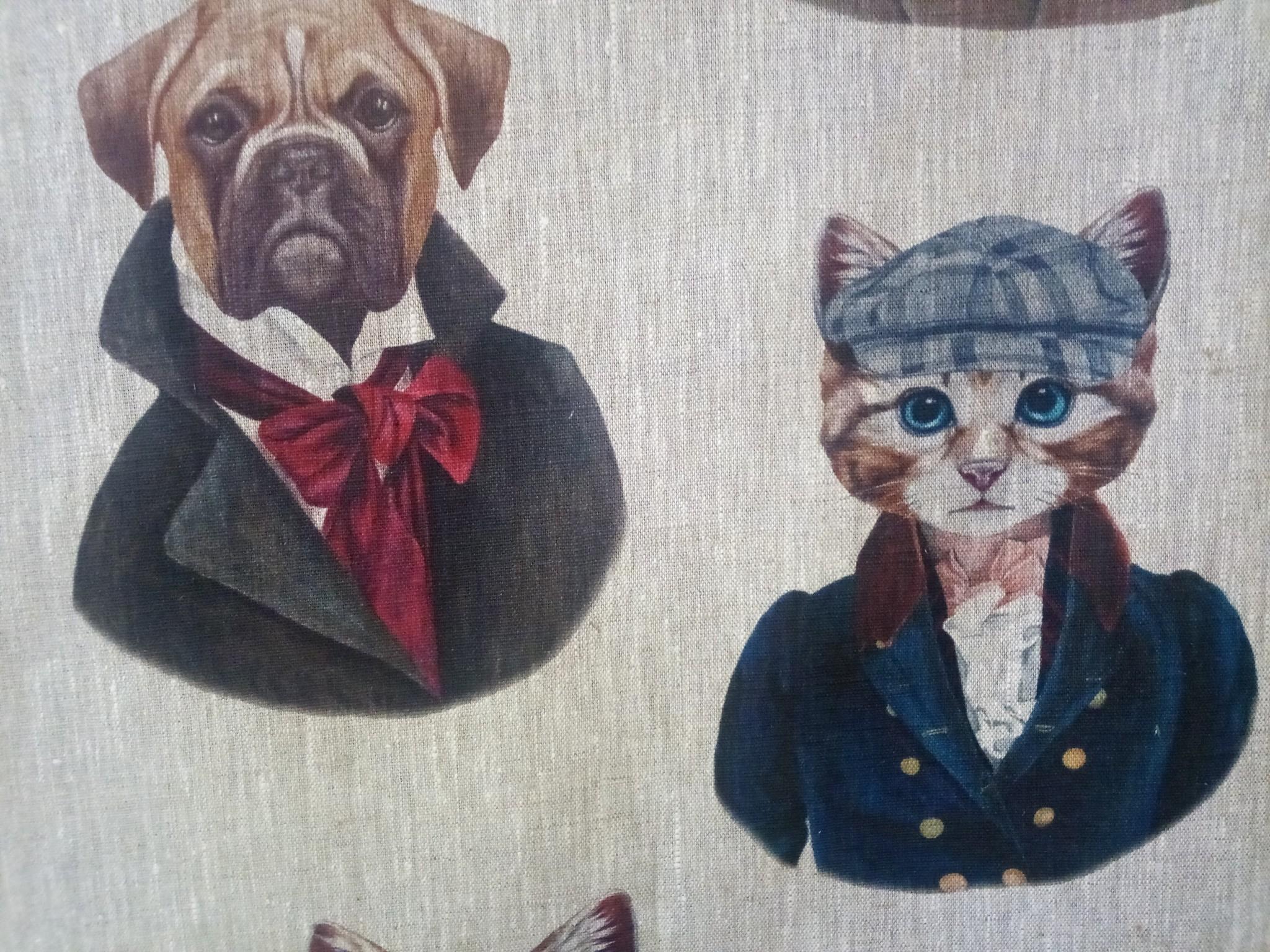 """Le grenier du lin Tissu """" chiens chats """""""