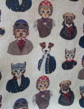 "Le grenier du lin Stoffen ""honden-katten"""