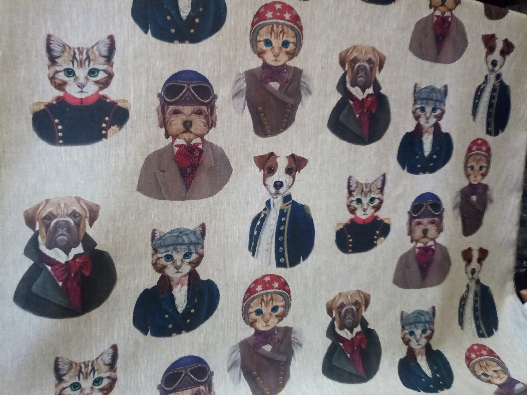 "Le grenier du lin Fabric "" dogs and cats """