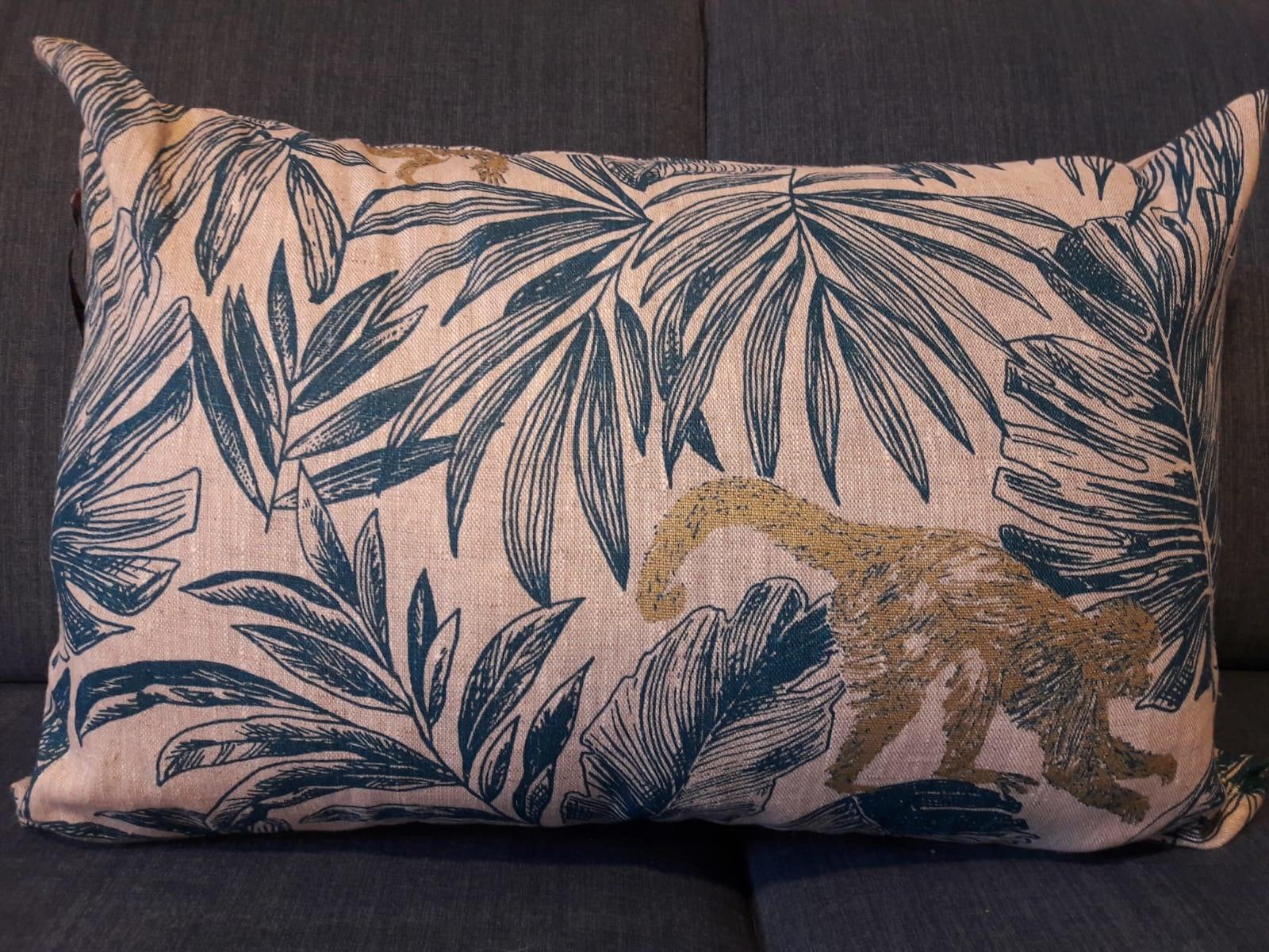"""Le grenier du lin """"chimpanzee"""" pillow"""