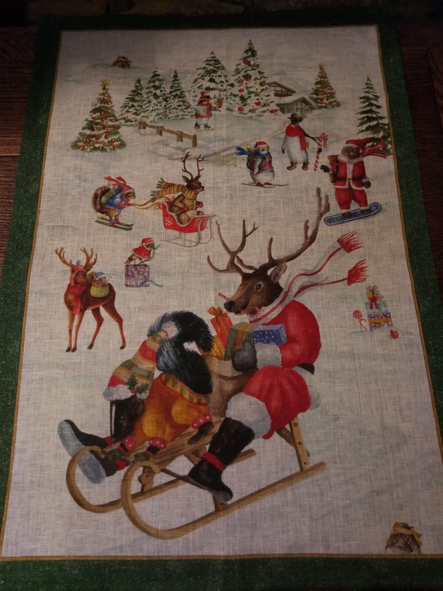 """Kerstmis rendiersleeën rit"""" theedoek"""