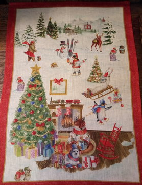 Christmas in the mountains tea towel
