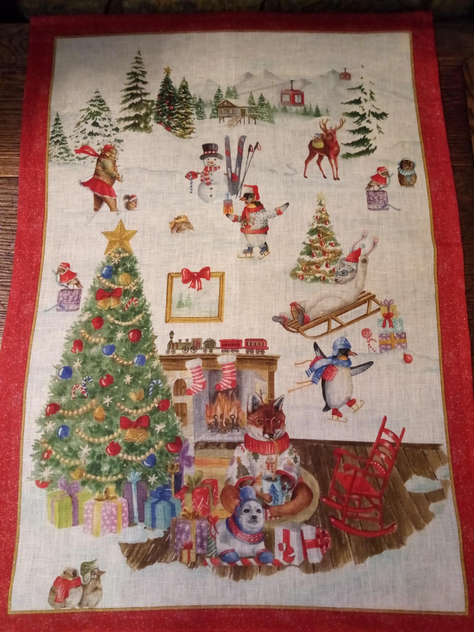 Kerstmis op de theedoek van de berg