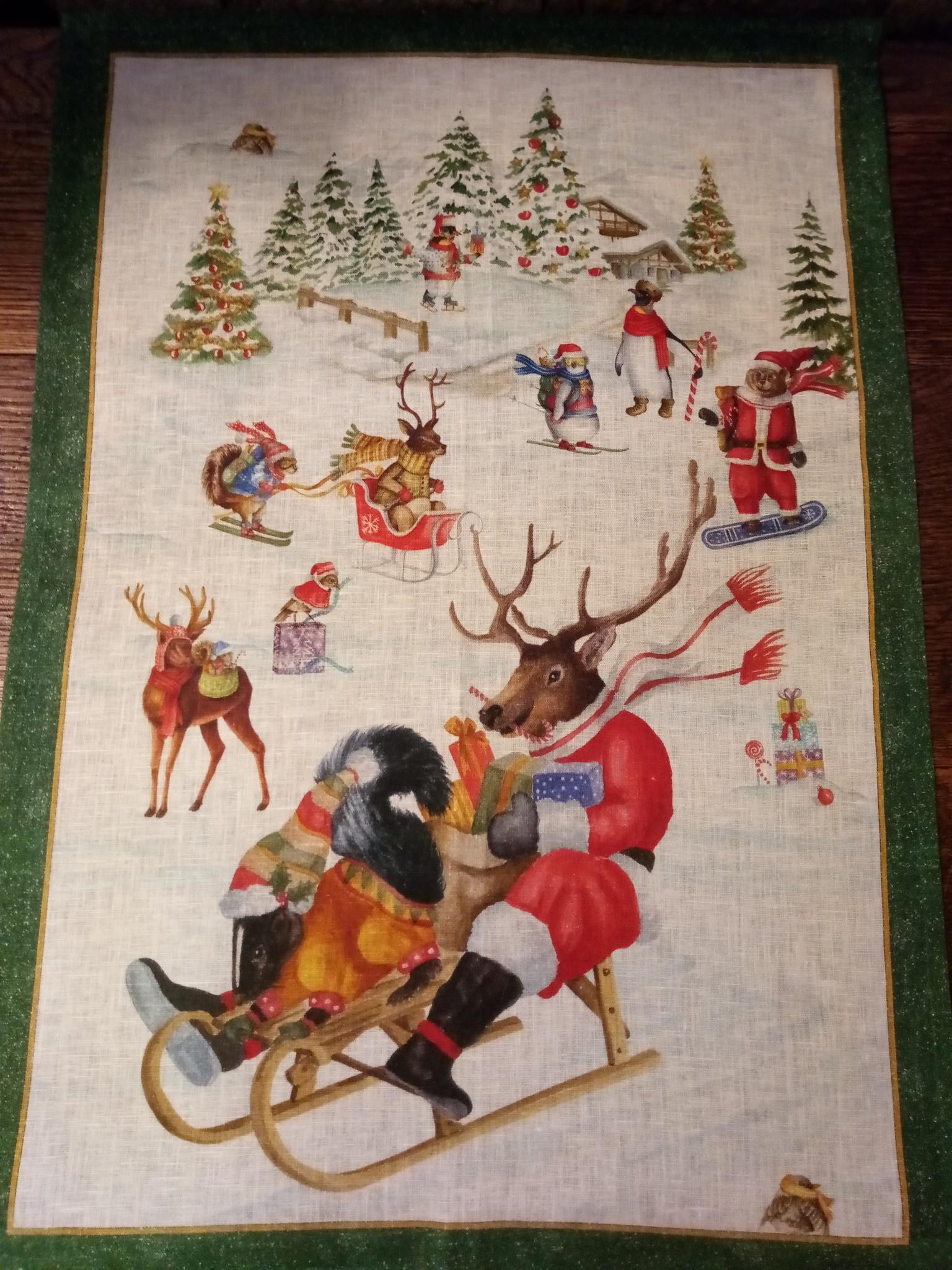 """Christmas reindeer sleigh ride"""" tea towel"""