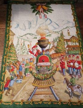 """Torchon """"père Noël en train"""""""