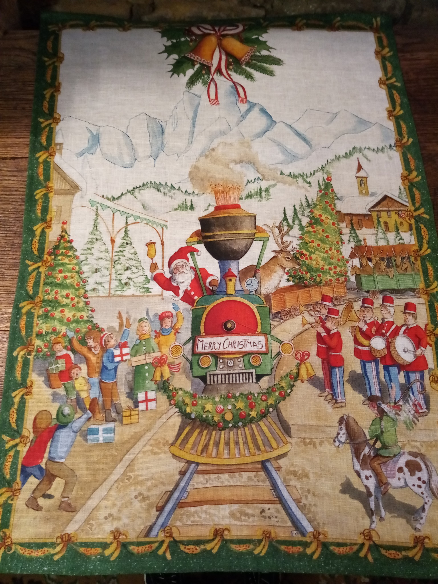 Santa Claus by Train tea towel