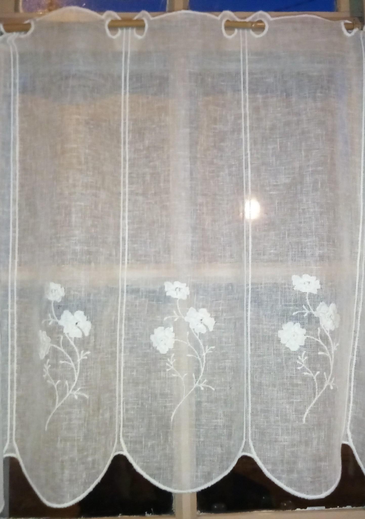 """Gordijn """"linnen bloem"""" in 60cm hoog"""