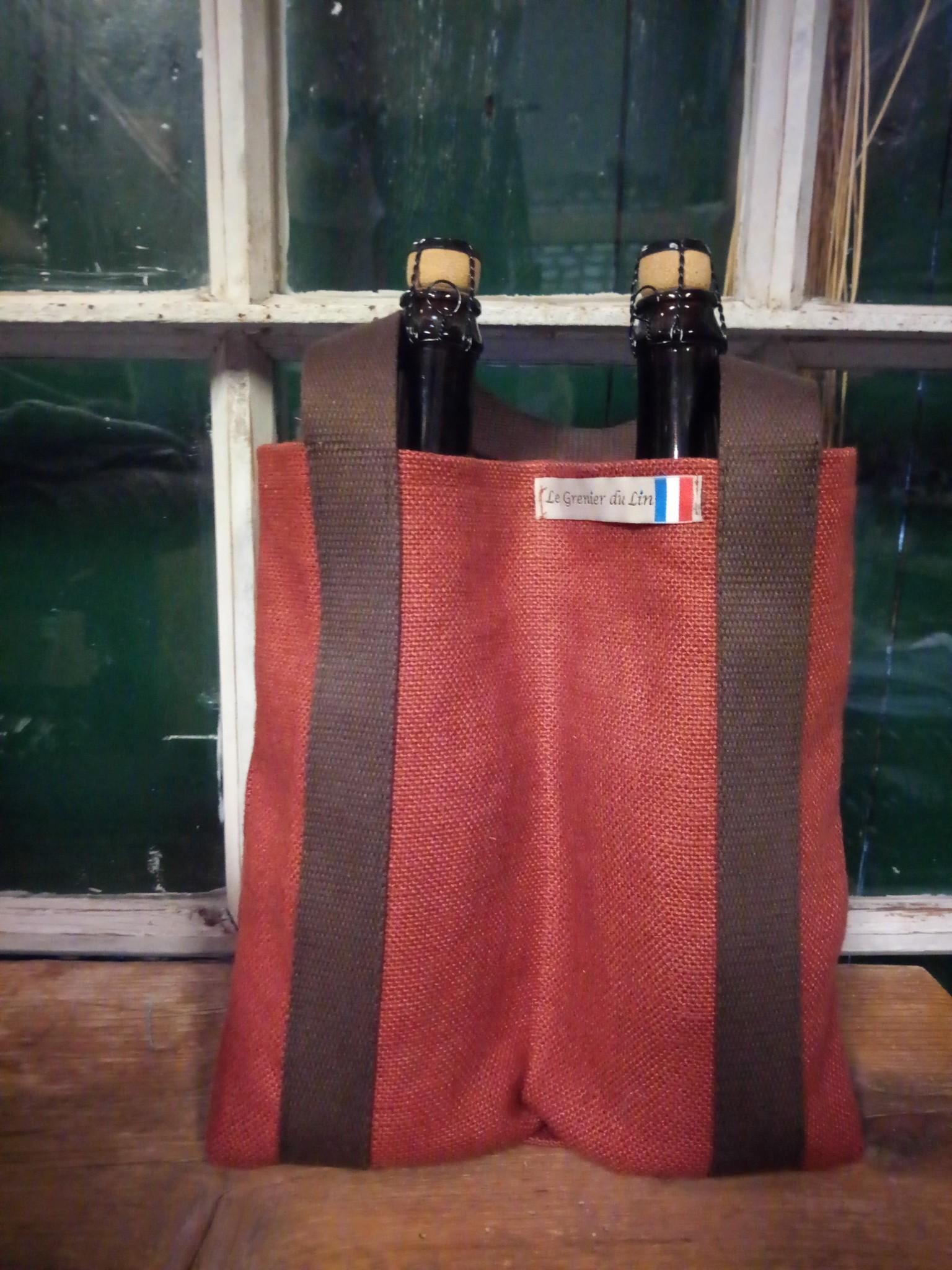 """Le grenier du lin Porte bouteille """" 2 bouteilles """""""