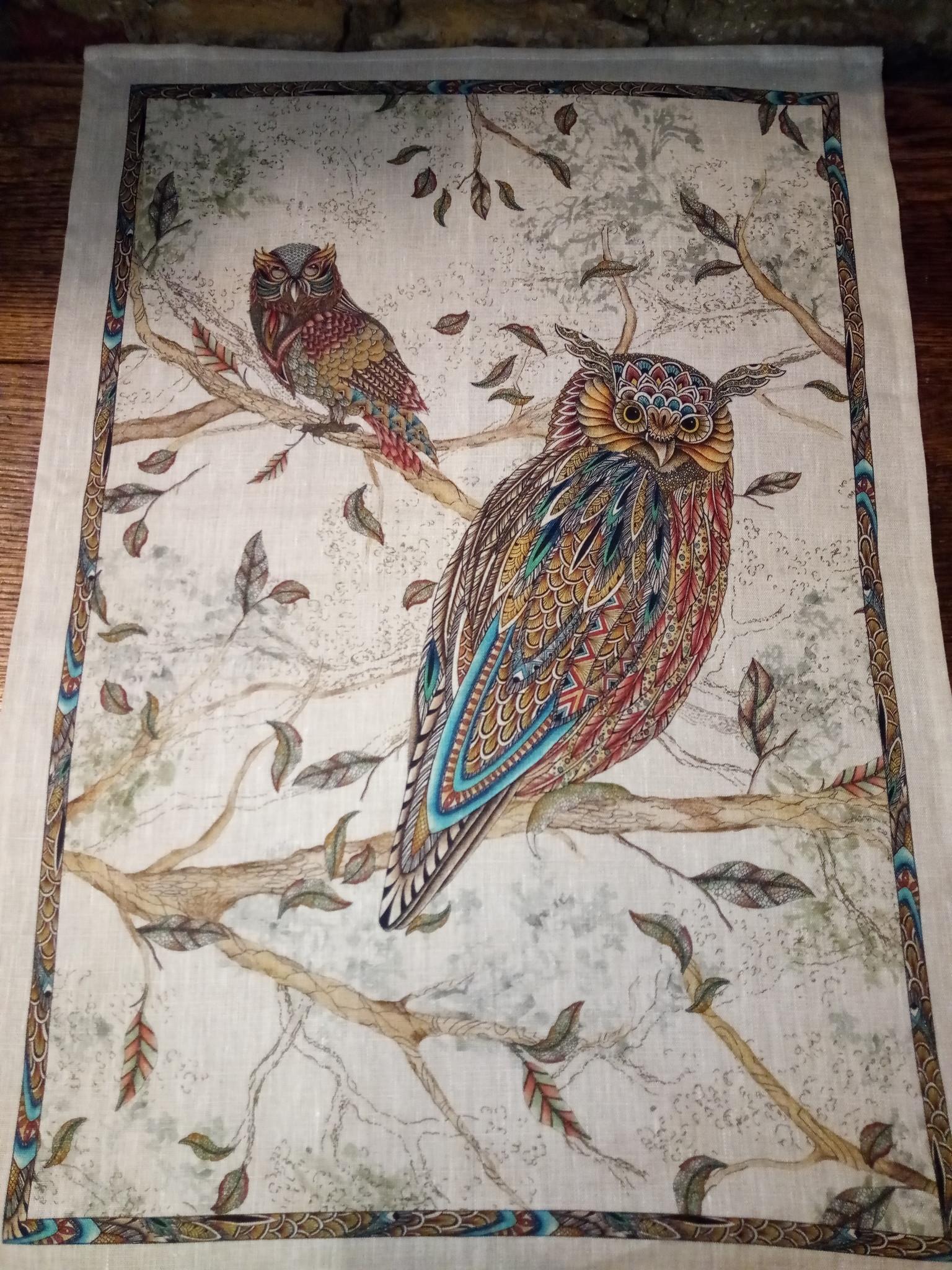 """Owl"" tea towel"