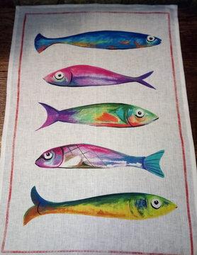 "Torchon "" 5 poissons """
