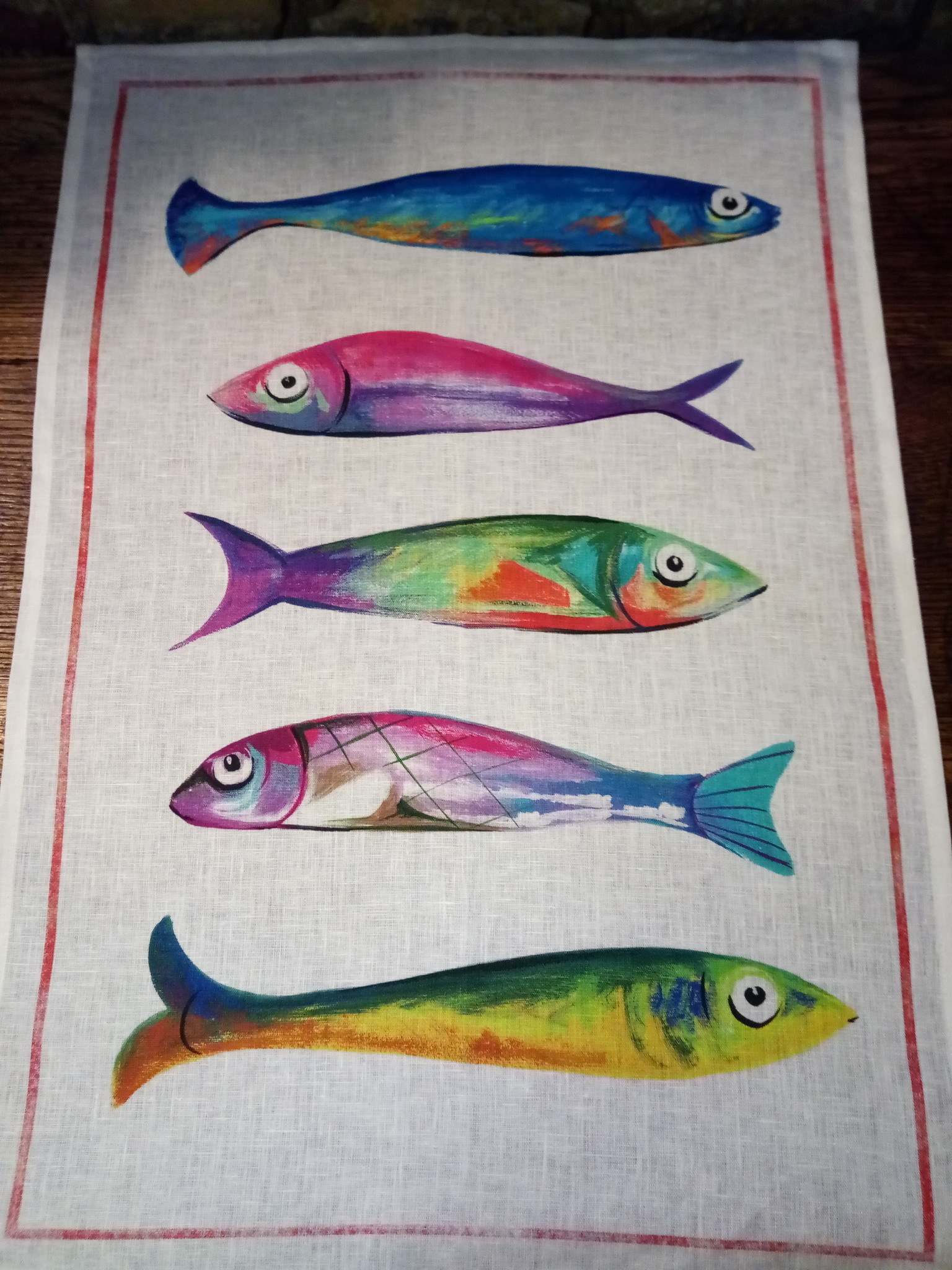 """Tea towel """"5 fishes""""."""