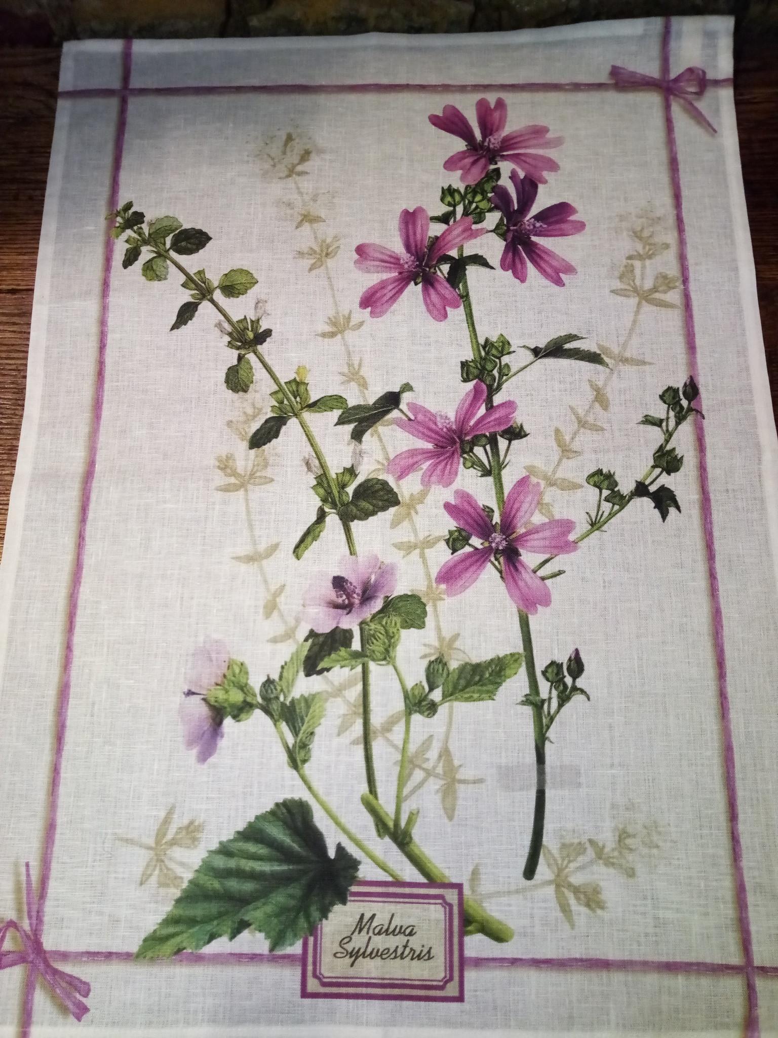 Wood mauve tea towel