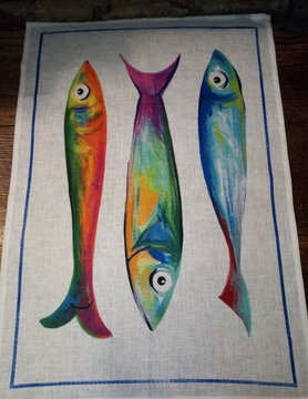 """3 Fish"" tea towel"