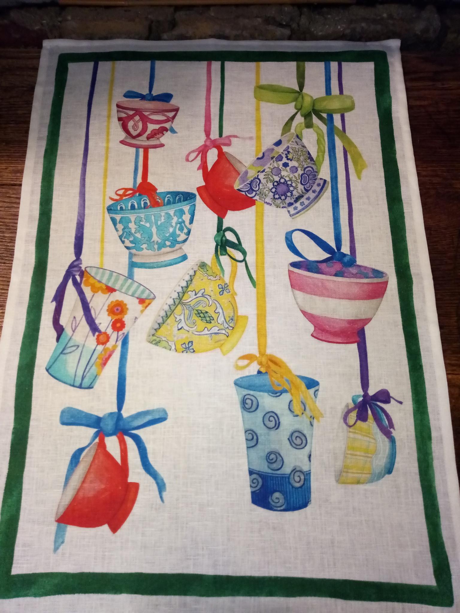 """tea towel """" hanging cups"""""""