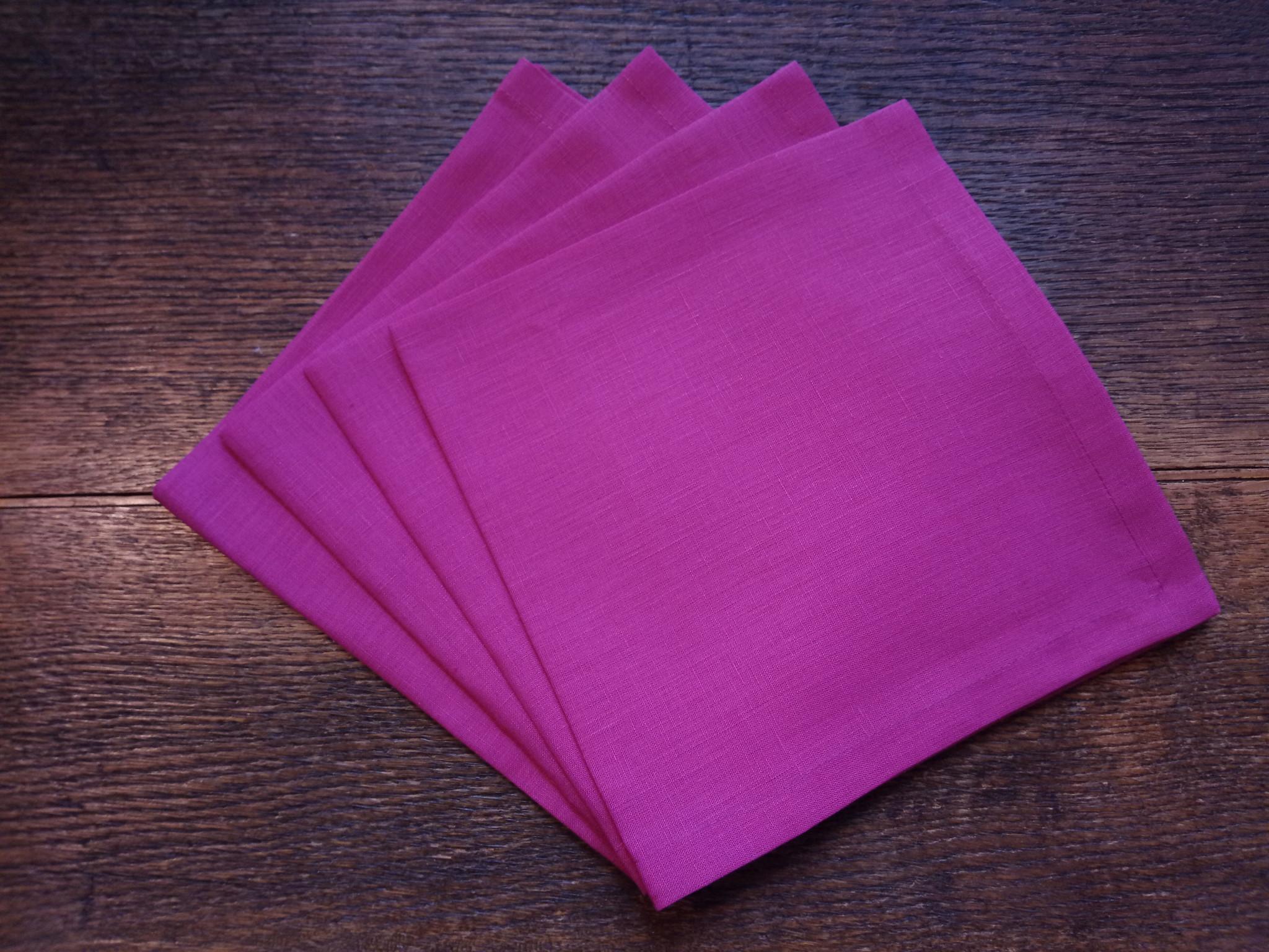 """Le grenier du lin serviette de table """" fuschia """""""