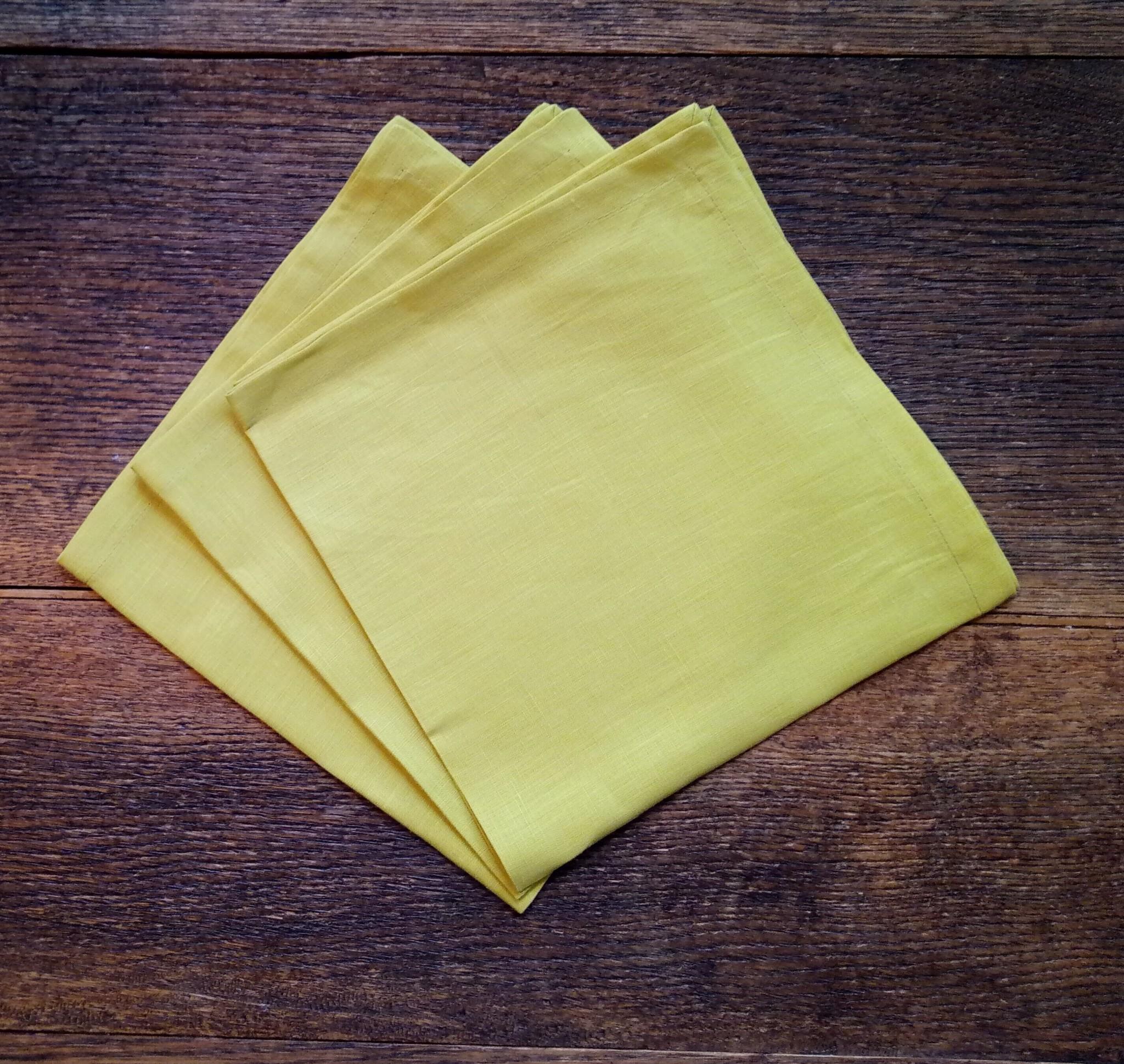 """Le grenier du lin serviette de table """" jaune clair  """""""