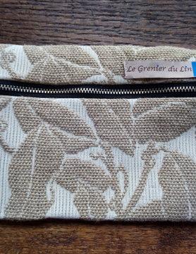 "Le grenier du lin Trousse plate "" feuillage beige """