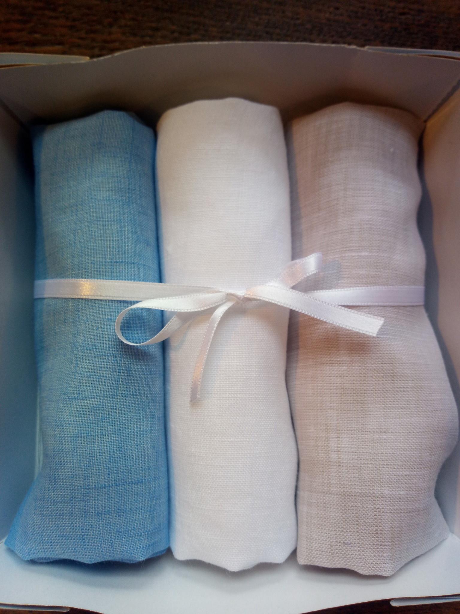 Set van 3 zakdoeken in doosjes