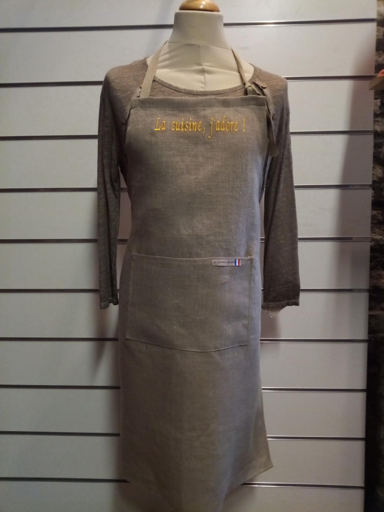"""Le grenier du lin """" La cuisine, j'adore """" apron"""