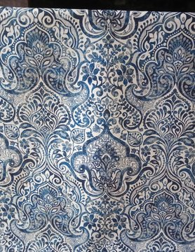 """Baroque blue"" fabric"