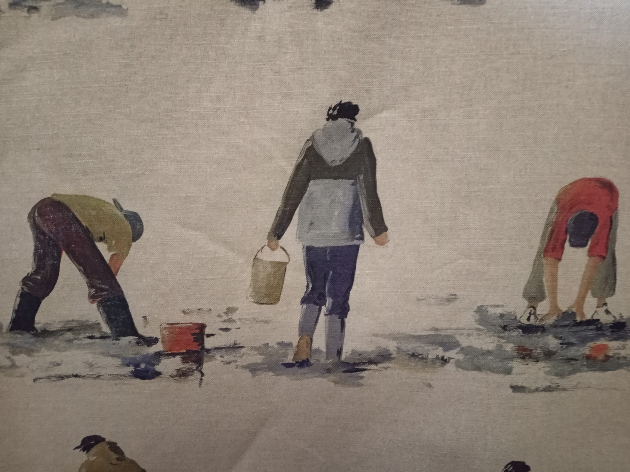 Linen fabric shrimp fishermen