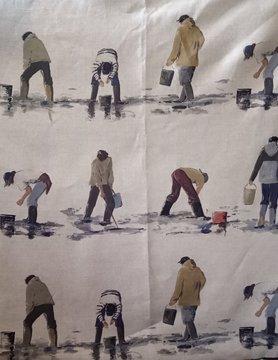 Linen fabric shrimp fishermen